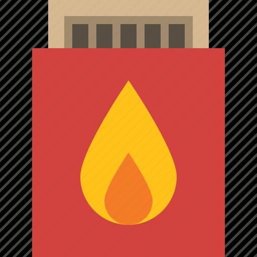 box, fire, match, match stick icon