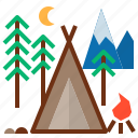 camping, tent icon