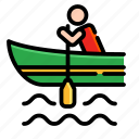 activities, adventure, canoe, extreme, outdoor, rowing, sport icon
