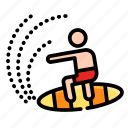 activities, adventure, extreme, outdoor, sport, summer, surfing icon