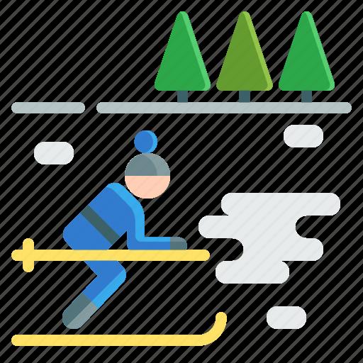 activities, adventure, extreme, outdoor, ski, snow, sport icon
