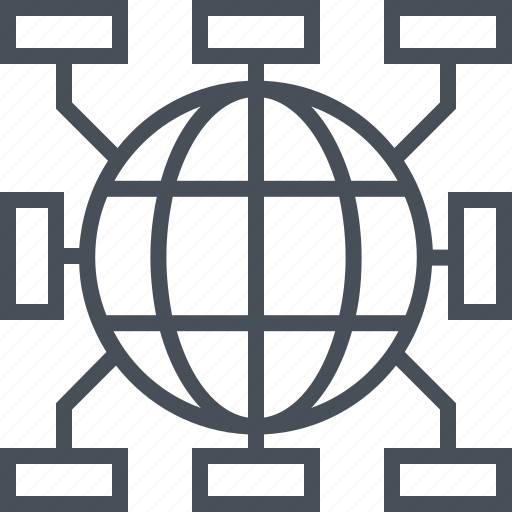 channels, communication, company, data, distribution, globe, teamwork icon