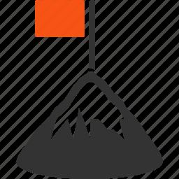achievement, mountain peak, red flag, rock climbing, success, win, winner icon
