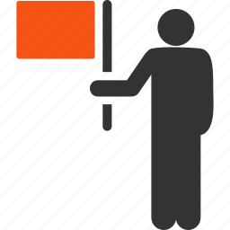 businessman, commander, flag, guide, leader, management, manager icon