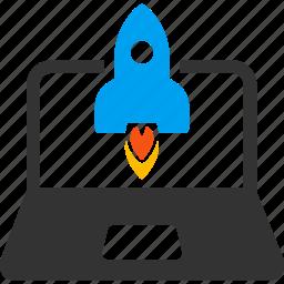 business start, idea, laptop, rocket launch, space sjip, spaceship, startup icon