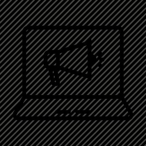 ads, advertisement, laptop, notebook, speaker icon