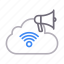 ads, advertisement, cloud, megaphone, signal icon