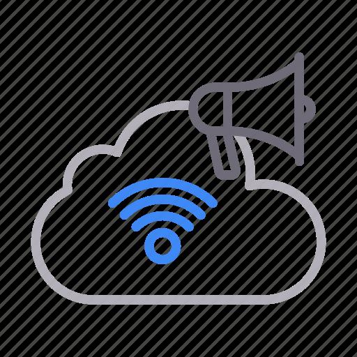 ads, advertisement, cloud, megaphone, signal icon