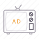 ads, advertisement, antenna, screen, television icon