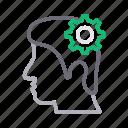 face, gear, head, mind, setting icon