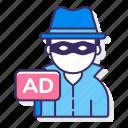 fraud, thief, ad, advertising icon