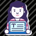 advertising, copywriter, laptop, woman icon