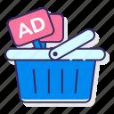 advertising, basket, dsp, media icon