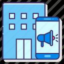 advertising, agency, building, digital, megaphone icon
