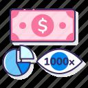 ecpm, eye, graph, money icon