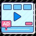 interactive, media, pre, roll, video icon