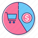 cart, money, rate, sell, through icon