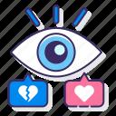 eye, hearts, impression, viewable icon