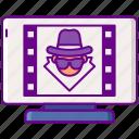 ad, advertising, fraud, thief, video icon