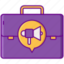 advertising, career, suitcase icon
