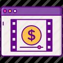 advertising, cpcv, money, video icon