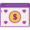 advertising, cpe, hearts, money icon