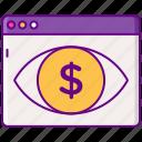 advertising, cpv, eye, view, money icon