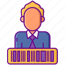 barcode, deal, id, man, user icon