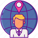 demographic, global, location, man, pin icon