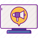 agency, digital, megaphone, monitor icon