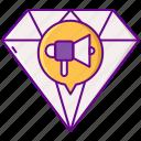 diamond, excelent, megaphone, quality icon