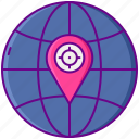 geotargeting, global, pin, world icon