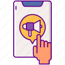 app, hand, in, interactive, megaphone, pre, roll icon
