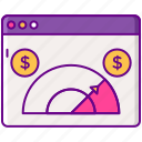 meter, money, rate, sell, through icon