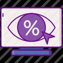advertising, eye, percentage, yield icon