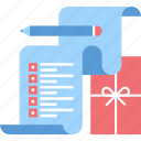 commerce, gift, holiday, list, present, shopping, wish icon