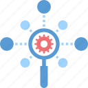 cogwheel, explore, magnifier, network, optimization, search, seo icon