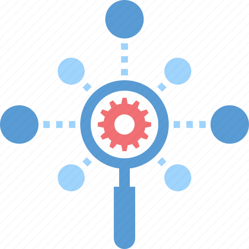 Cogwheel, explore, magnifier, network, optimization, search, seo icon - Download on Iconfinder