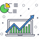 chart, finance, graph, growth, laptop, report, statistics icon