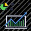 statistics, finance, graph, laptop, chart, growth, report icon