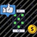 app, dollar, like, mobile, phone, play, smartphone icon