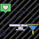 computer, funnel, internet, marketing icon