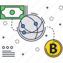 bitcoin, blockchain, crypto, cryptocurrency, global, money, technology icon
