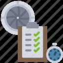 engine, tests, turbine, airplane, testing, clipboard, timer icon