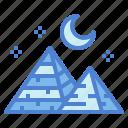 desert, landscape, moon, pyramid