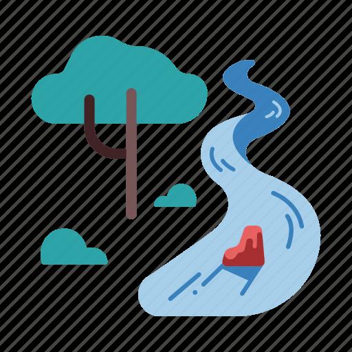 landscape, nature, outdoor, river, safari, travel, tree icon