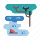 africa, forest, nature, outdoor, pond, swamp, water icon