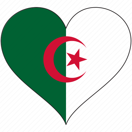 africa, algeria, flag, flags, heart icon