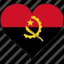 africa, angola, flags, heart, flag