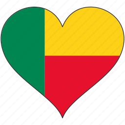 africa, benin, flag, flags, heart icon